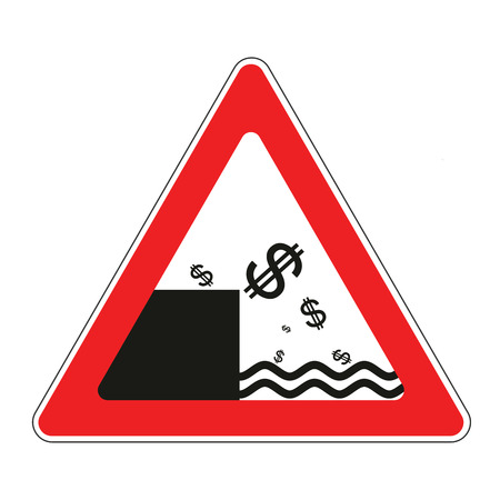 collapsed: Illustration of road sign with concept of declining dollar currency