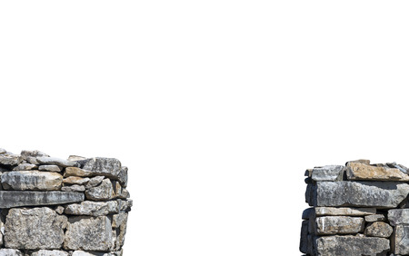 gap: Old stone wall with gap isolated on white background Stock Photo