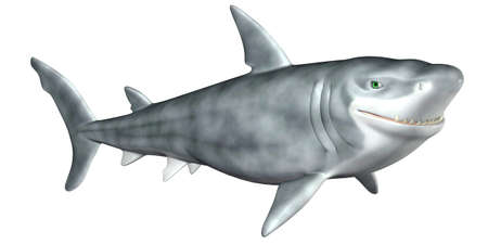 villain: Illustration of a Cartoon Shark isolated on a white background