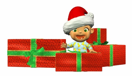 pyjama: Illustration of a Baby Cartoon with Christmas presents isolated on a white background Stock Photo
