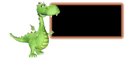 Illustration of a green dragon cartoon teaching in front of a blackboard illustration