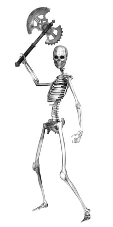 3d scary: Illustration of a skeleton holding an ancient axe isolated on a white background
