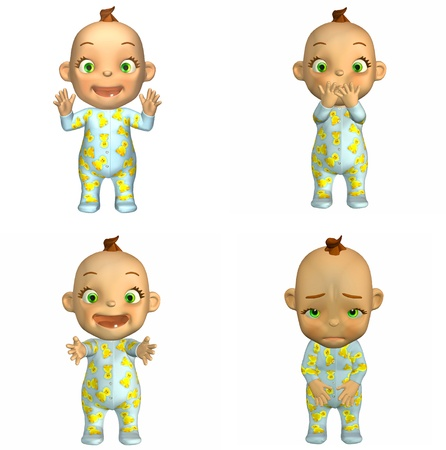 pyjama: Illustration of a pack of four  4  cartoon babies with different poses and expressions isolated on a white background - 2of2 Stock Photo
