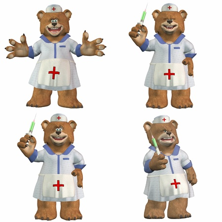 3d nurse: Illustration of a pack of four  4  nurse bears with different poses and expressions isolated on a white background - 2of2 Stock Photo