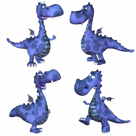 fat belly: Illustration of a pack of four  4  blue dragons with different poses and expressions isolated on a white background - 3of3