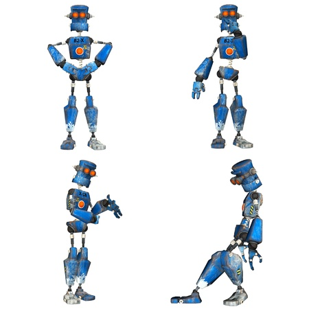 Illustration of a pack of four  4  blue robots with different poses isolated on a white background - 3of3 illustration