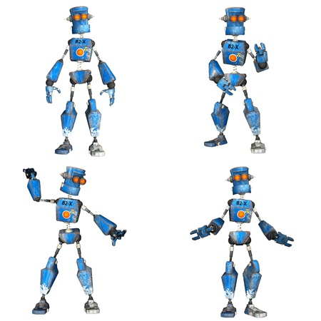 humanoid: Illustration of a pack of four  4  blue robots with different poses isolated on a white background - 2of3