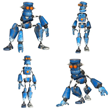 Illustration of a pack of four  4  blue robots with different poses isolated on a white background - 1of3 illustration