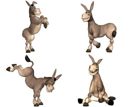 culo: Illustrazione di un pacchetto di quattro quattro asini cartoni animati con diverse pose e le espressioni isolato su uno sfondo bianco - 1of2