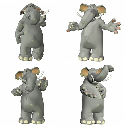 african grey: Illustration of a pack of four  4  elephants with different poses and expressions isolated on a white background - 1of2 Stock Photo