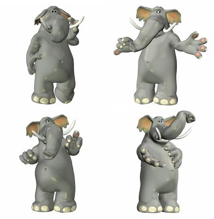 republican: Ilustraci�n de un paquete de cuatro cuatro elefantes con diferentes poses y expresiones aisladas sobre un fondo blanco - 1of2 Foto de archivo