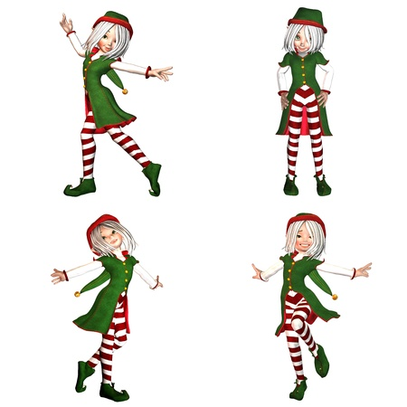 Illustration of a pack of four  4  christmas elves with different poses and expressions isolated on a white background - 2of6 Stock Illustration - 13440802