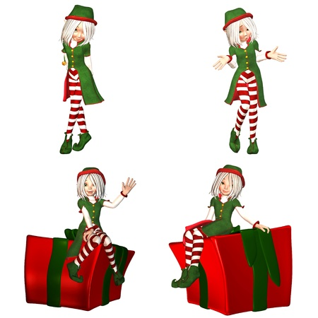santa helper: Illustration of a pack of four  4  christmas elves with different poses and expressions isolated on a white background - 1of6