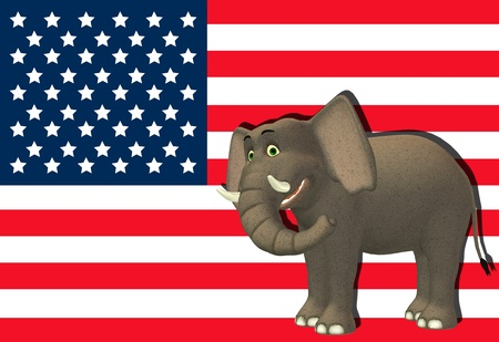 Illustration of a happy elephant in front of the flag of the united states of america illustration