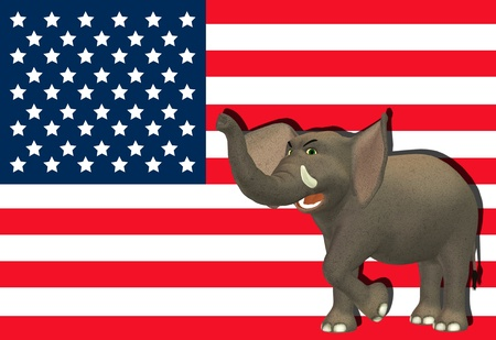 Illustration of an angry elephant in front of the flag of the united states of america illustration
