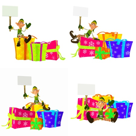 Illustration of a pack of four  4  christmas elves with different poses and expressions holding a sign, with presents, isolated on a white background illustration