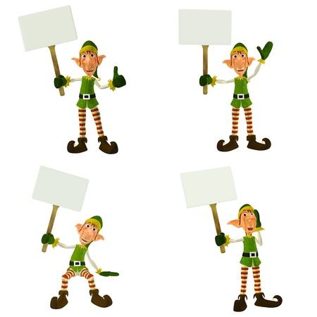 Illustration of a pack of four  4  christmas elves with different poses and expressions holding a sign isolated on a white background illustration