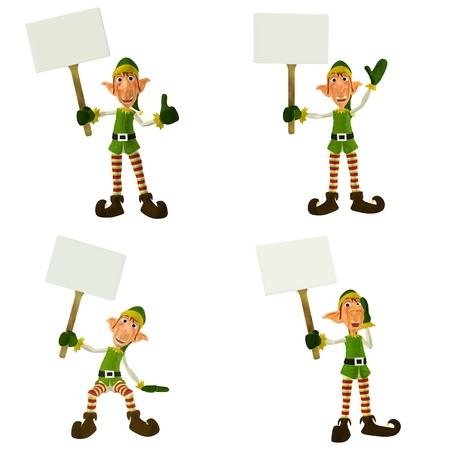 duendes de navidad: Ilustraci�n de un paquete de cuatro 4 elfos de Navidad con diferentes poses y expresiones aisladas que sosten�an una pancarta en un fondo blanco Foto de archivo