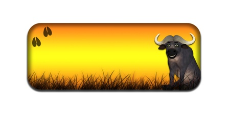 Illustration of a safari themed banner header with a cartoon buffalo on a white background Stock Illustration - 14326255