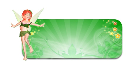Illustration of a fairy in front of a green autumn themed header banner on a white background Stock Illustration - 14326263