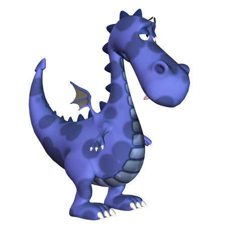 3d dragon: Illustration of a sad blue dragon isolated on a white background