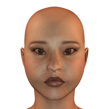 bald girl: Illustration of the face of an asian female isolated on a white background Stock Photo