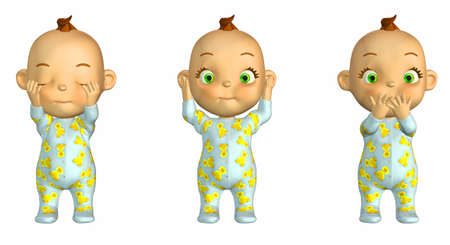 pyjama: Illustration of the Three Wise Babies isolated on a white background