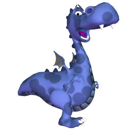 toons: Illustration of a happy blue dragon isolated on a white background