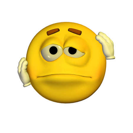 tired cartoon: Illustration of a beaten up yellow emoticon isolated on a white background