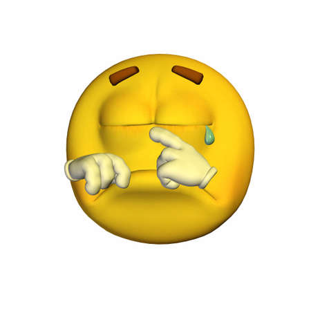 devastated: Illustration of a crying yellow emoticon isolated on a white background Stock Photo