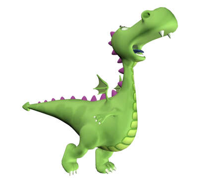 rendered: Illustration of a green dragon trying to take off isolated on a white background Stock Photo