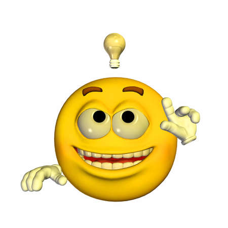 feeling good: Illustration of a yellow emoticon having a brilliant idea isolated on a white background Stock Photo