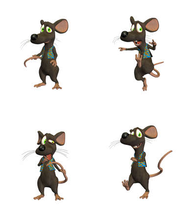 Illustration of cartoon mouse on four  4  different poses isolated on a white background  - 1 of 3
