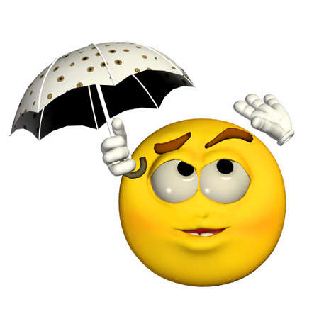 cold weather: Illustration of a yellow emoticon holding an umbrella isolated on a white background Stock Photo