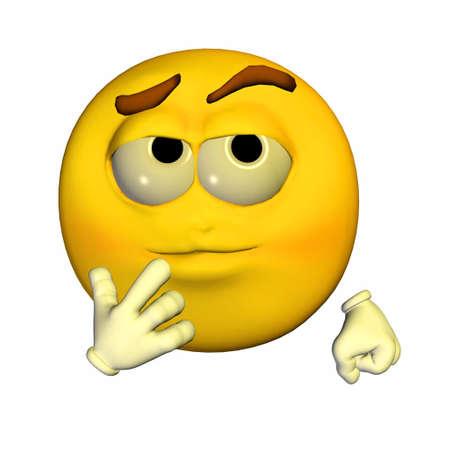sarc�stico: Ilustraci�n de un emoticono amarillo pensativo aislado en un fondo blanco
