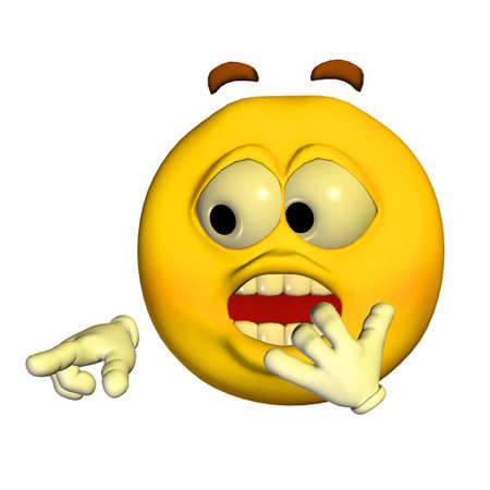 shocking: Illustration of a scared yellow emoticon isolated on a white background
