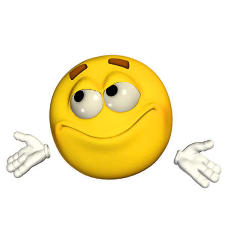 unsure: Illustration of an uncertain yellow emoticon isolated on a white background