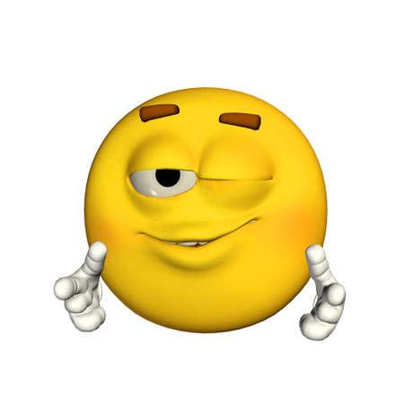 winking: Illustrazione di un emoticon ammiccanti giallo isolato su uno sfondo bianco