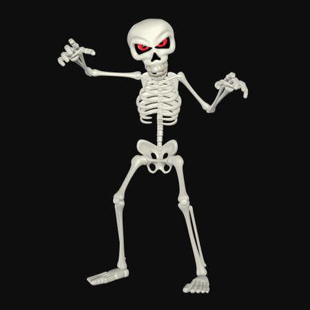 squelette: Illustration d'un dessin anim� squelette effrayant isol� sur un fond noir