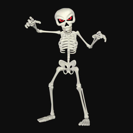 skeleton: Illustration of a scary skeleton cartoon isolated on a black background