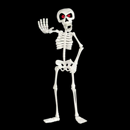 skeleton cartoon: Illustration of an angry skeleton cartoon isolated on a black background