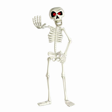 skeleton cartoon: Illustration of an angry skeleton cartoon isolated on a white background