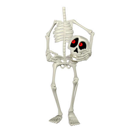 death head holding: Illustration of a headless skeleton cartoon isolated on a white background Stock Photo