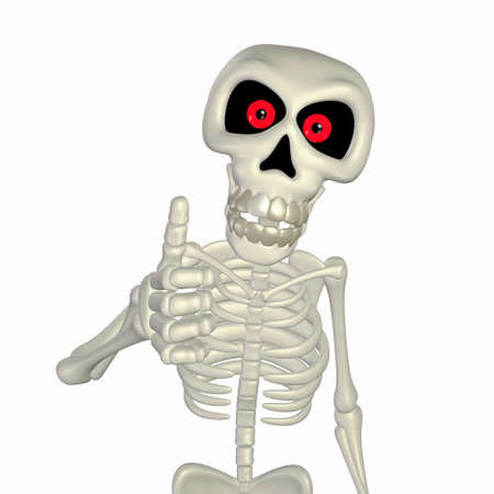 skeleton cartoon: Illustration of a skeleton cartoon giving thumbs up isolated on a white background