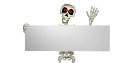 haunting: Illustration of a skeleton cartoon holding a blank sign isolated on a white background Stock Photo