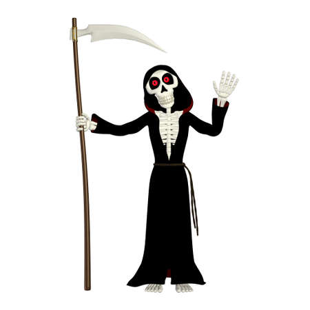 reaper: Illustration of a grim reaper isolated on a white background Stock Photo