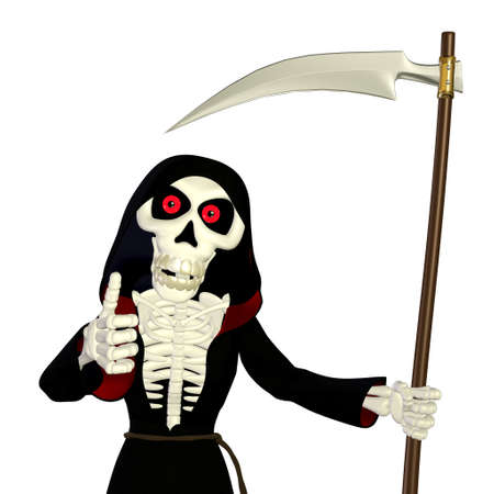 grim: Illustration of a grim reaper isolated on a white background Stock Photo
