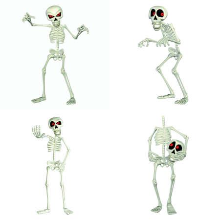 scheletro umano: Illustrazione di un pacchetto di quattro quattro vignette scheletri con diverse pose ed espressioni isolato su uno sfondo bianco