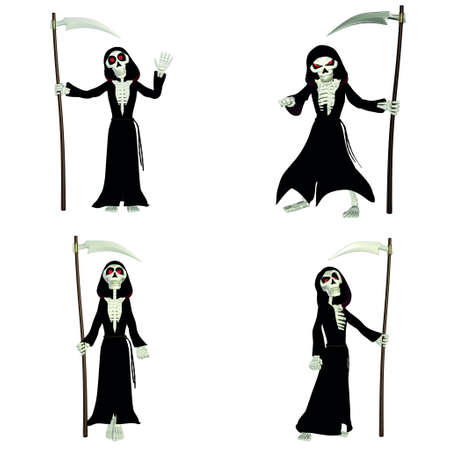 grim: Illustration of a pack of four  4  grim reapers with different poses and expressions isolated  on a white background Stock Photo