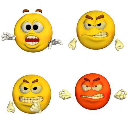 raged: Illustration of a pack of four  4  emoticons   smileys with different poses and expressions isolated on a white background